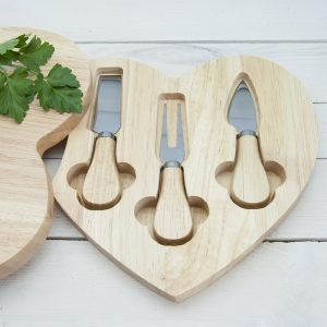 Personalised Wooden Cheese Board and Set of Knives