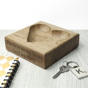 Solid Oak Trinket Dish - Heart Design Engraved for Your Loved One