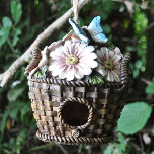 Pretty Bird Houses - Wicker Flower Basket Hanging Bird House