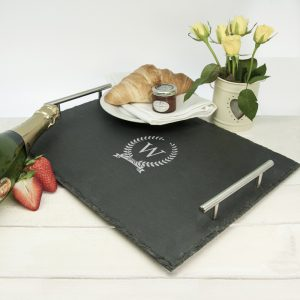 Engraved Breakfast Tray - Personalised Rustic Welsh Slate