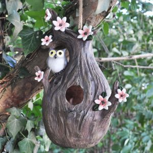 Novelty Bird Houses - Charming Owl Tree & Pink Flowers