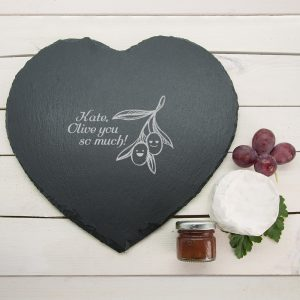 Slate Cheese Board - Romantic Heart Shaped Engraved Slate