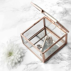 Rose Gold & Glass Trinket Box Etched with a Personal Message