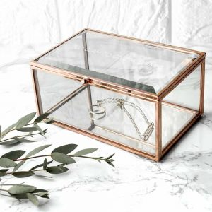 Glass Jewellery Box | Contemporary Rose Gold, Glass & Mirror Based