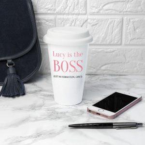 Personalised The Boss Travel Mug at Country Charm