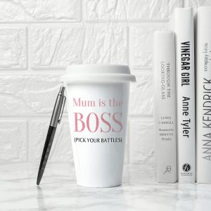 Ceramic Travel Mug Personalised for the Boss - Superb On The Go Gift