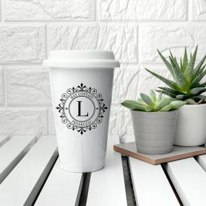 Personalised Eco Cup - Ceramic Travel Mug Beautifully Monogrammed