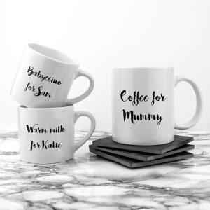 Mothers Day Mugs - Gorgeous Mummy & Me Set of 3 Personalised Ceramic Mugs