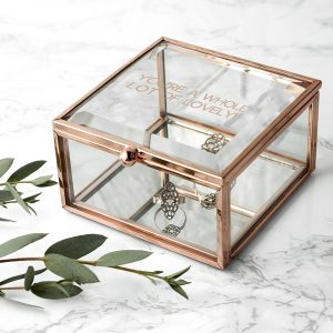 Glass Trinket Box | Contemporary Rose Gold, Glass & Mirror Based