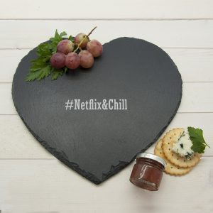 Cheese Serving Platter- Romantic Heart Hashtag Engraved Slate