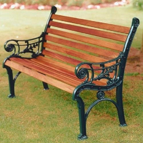 Decorative Garden Bench Solid Aluminium Wooden Edwardian Chair