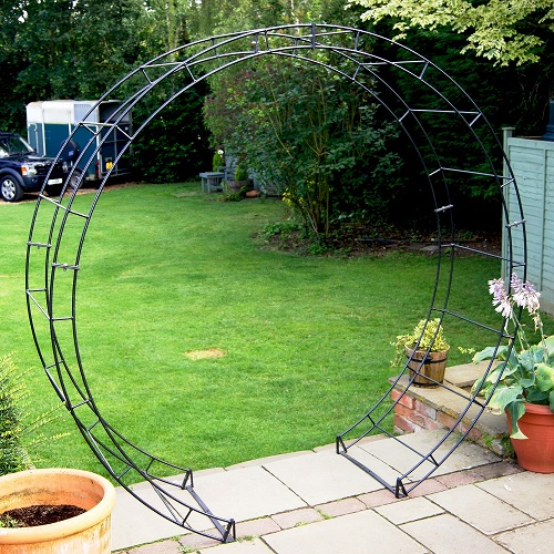 Stunning Round Garden Arch Poppy Forge Antique Black Solid Steel