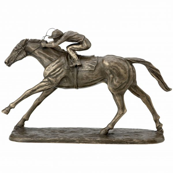 Flat Horse Racing Sculpture With Jockey Made From Resin With Bronze Finish NEW